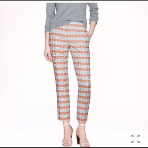 J. Crew Blue Orange Diamond Striped Jacquard Pant